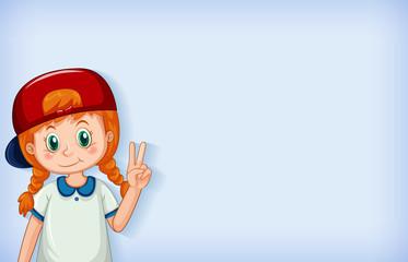 Zelfklevend Fotobehang Kids Plain background with happy girl wearing red cap