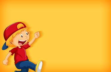 Zelfklevend Fotobehang Kids Background template design with happy boy walking