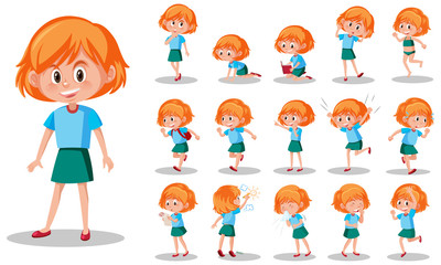 Zelfklevend Fotobehang Kids Set of kid character with different expressions on white background