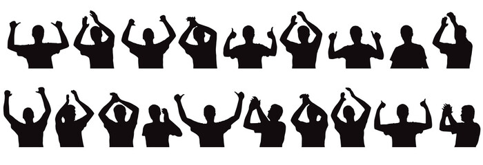 Applauding person, clapping palms, set of silhouettes of fan. Vector illustration.