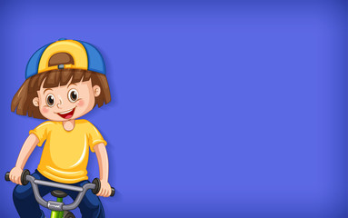 Zelfklevend Fotobehang Kids Plain background with happy girl riding bicycle
