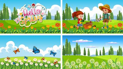 Zelfklevend Fotobehang Kids Nature scene background with boy and girl doing gardening