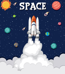 Stores à enrouleur Jeunes enfants Background theme of space with rocket flying in the space