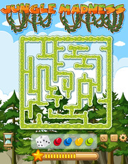 Stores à enrouleur Jeunes enfants Puzzle game template with green trees in background
