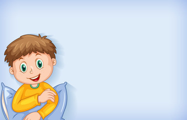 Zelfklevend Fotobehang Kids Background template design with happy boy in yellow pajamas