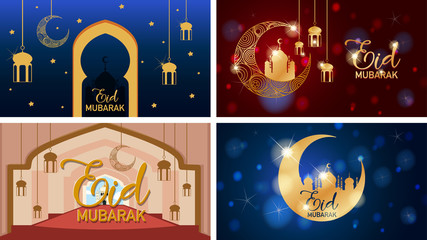 Zelfklevend Fotobehang Kids Four background designs for Muslim festival Eid Mubarak