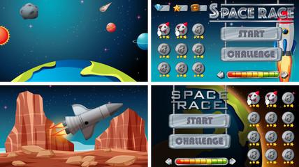 Zelfklevend Fotobehang Kids Set of space games