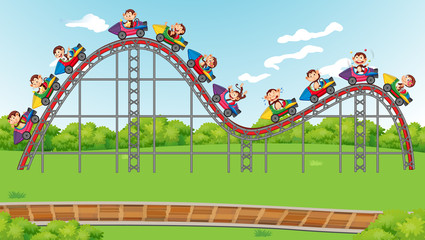 Zelfklevend Fotobehang Kids Scene with roller coster ride in the park