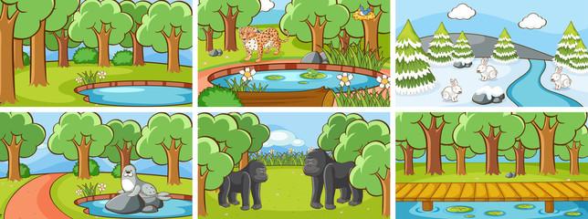 Zelfklevend Fotobehang Kids Background scenes of animals in the wild