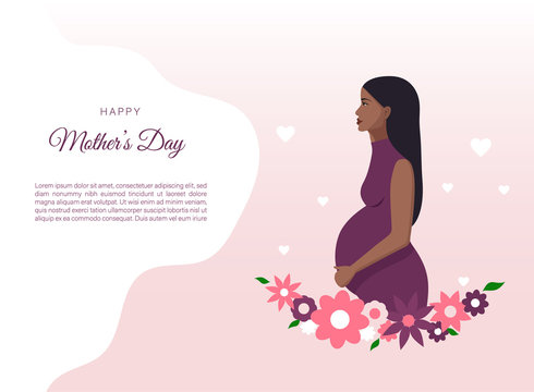 Vector illustration of pregnant african-american woman. Made in cartoon style. Perfect for banner and web sites.