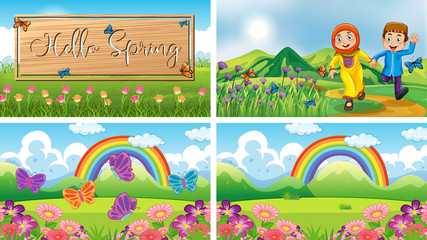 Zelfklevend Fotobehang Kids Four background scenes with children and animals in the park