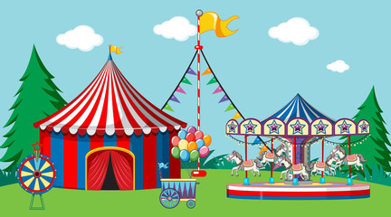 Stores à enrouleur Jeunes enfants Scene with circus tent and carousel in the park