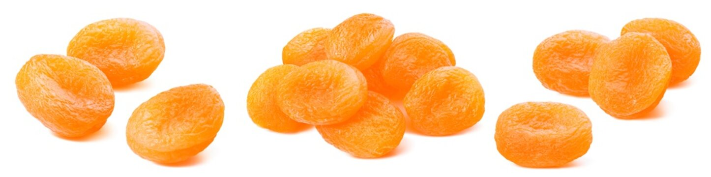 Dry apricots group set isolated on white background