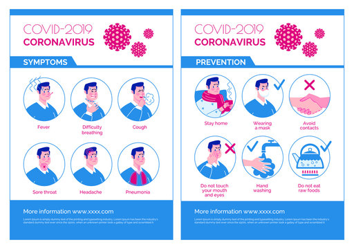 Epidemiological coronavirus informational poster: symptoms, prevention. Vector. Cartoon flat illustration.