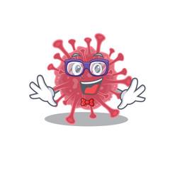 Wall Mural - Super Funny Geek coronavirus disease cartoon character design