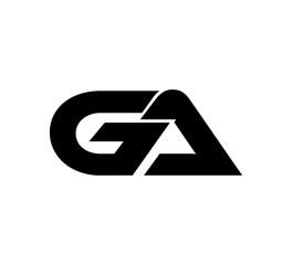Fototapeta Initial 2 letter Logo Modern Simple Black GA obraz
