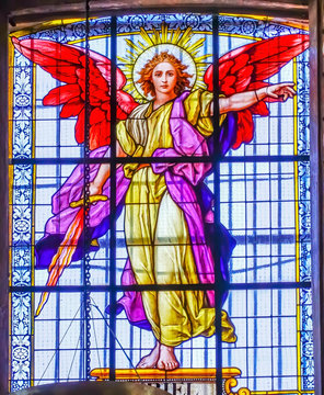 Coloful Archangel Uriel Stained Glass Puebla Cathedral Mexico