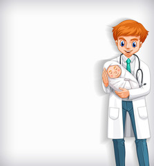 Stores à enrouleur Jeunes enfants Background template design with happy doctor and baby