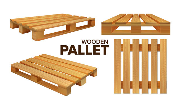 Wooden Pallet Different Size Collection Set Vector. Pallet Skid Flat Transport Structure For Transportation, Storaging And Protecting Delivery Goods. Concept Layout Realistic 3d Illustrations