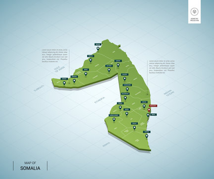 Stylized map of Somalia. Isometric 3D green map with cities, borders, capital Mogadishu, regions. Vector illustration. Editable layers clearly labeled. English language.