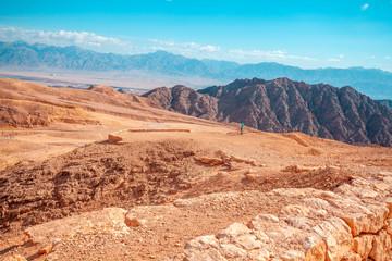 Fototapete - Beautiful mountain landscape. Mountain ridge background. Panoramic view of Jordan from Israel