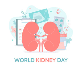 World kidney day. Checking kidney health. Necessary tests and ultrasound of the kidneys. Medical concept. Flat vector.