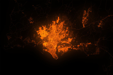 Karachi top view from satellite at night. Aerial view on modern city. Urbanization concept Fototapete