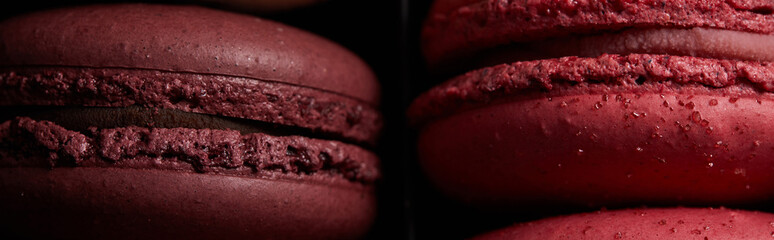 close up view of red assorted delicious colorful french macaroons, panoramic shot Wall mural