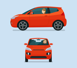 Poster Cartoon cars Micro car two angle set. Car with driver woman side view and front view. Vector flat style illustration.