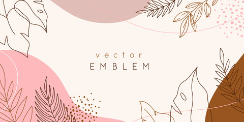 Vector design templates in simple modern style with copy space for text, flowers and leaves - wedding invitation backgrounds and frames, social media stories wallpapers Fototapete