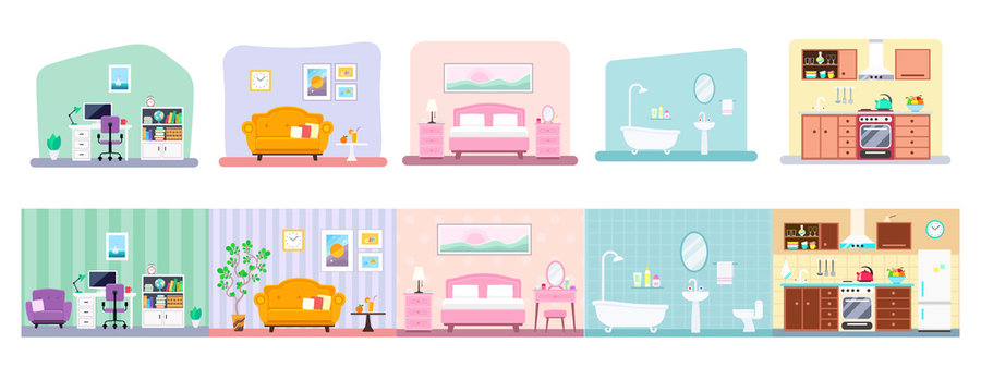 Vector collection of house rooms various design