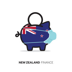 New Zealand healthcare cost. Piggy bank wearing a protective face mask