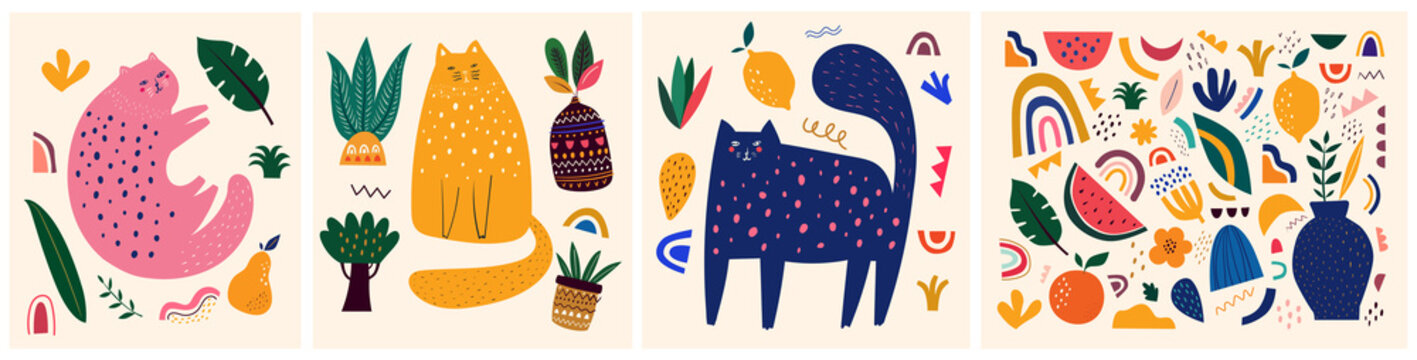 Cute spring pattern collection with cat. Decorative abstract horizontal banner with colorful doodles. Hand-drawn modern illustrations with cats, flowers, abstract elements