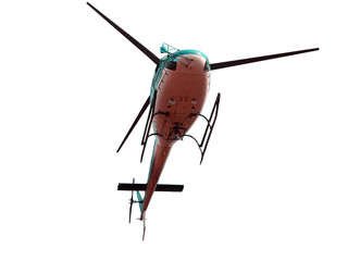 Poster Helicopter Turquoise color helicopter isolated on white