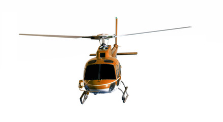 Poster Helicopter Brown helicopter isolated on white