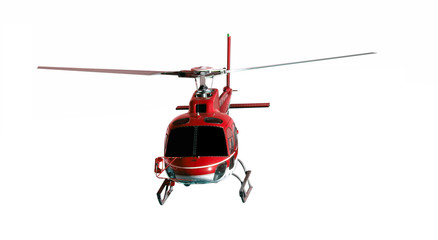Poster Helicopter Red helicopter isolated on white