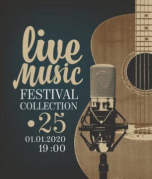 Vector poster for a live music festival or concert with a guitar, microphone and place for text in retro style. Suitable for flyer, playbill, banner, invitation, advertisement