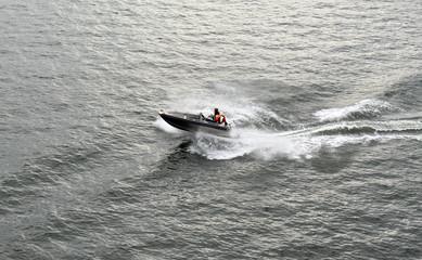 Poster Nautique motorise The family enjoying boating at Baltic Sea