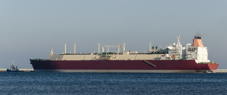LNG TANKER - A giant ship with a natural gas load