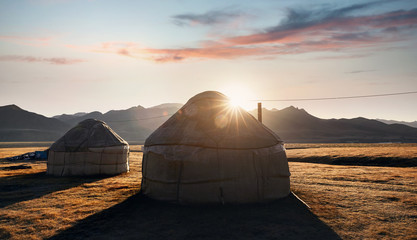 Printed roller blinds Salmon Yurt nomadic houses in the mountains