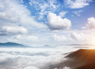 Wall Mural - Picturesque morning moment in alpine valley. Carpathian mountains, Ukraine, Europe.