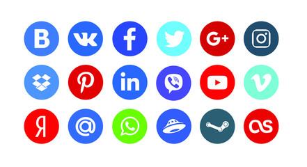 Facebook, instagram, twitter, youtube, pinterest, google, viber, whatsap, telegram. Social icons set. Editorial vector.