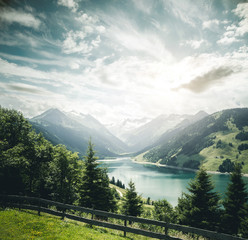 Wall Mural - Great panorama of the Durlassboden reservoir. Location municipality of Gerlos, High Tauern National Park.
