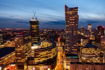 Fototapeta Warszawa warsaw noc nocą wieżowce panorama