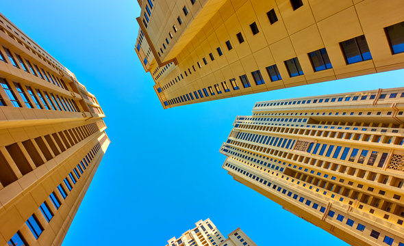 Modern multistory apartment buildings