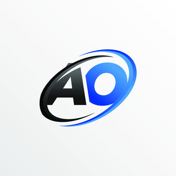 Initial Letters AO Logo with Circle Swoosh Element