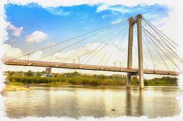 Imitation of a picture. Oil paint. Illustration. Bridge to the island Tatyshev, Krasnoyarsk