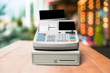 Fototapete - Cash register with LCD display on a desk