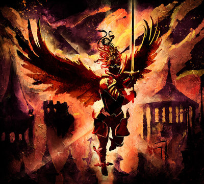 Angel woman rushing into battle with a sword at the ready on the background of a Beautiful magical fantasy city, with towers and temples, against a yellow-orange sky. 2D illustration.
