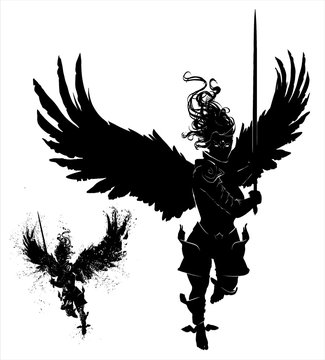 The silhouette of an angel of a woman flying forward with a sword ready in her hands, in a dynamic pose, her hair flying in the wind , her large wings spread wide. 2D illustration.
